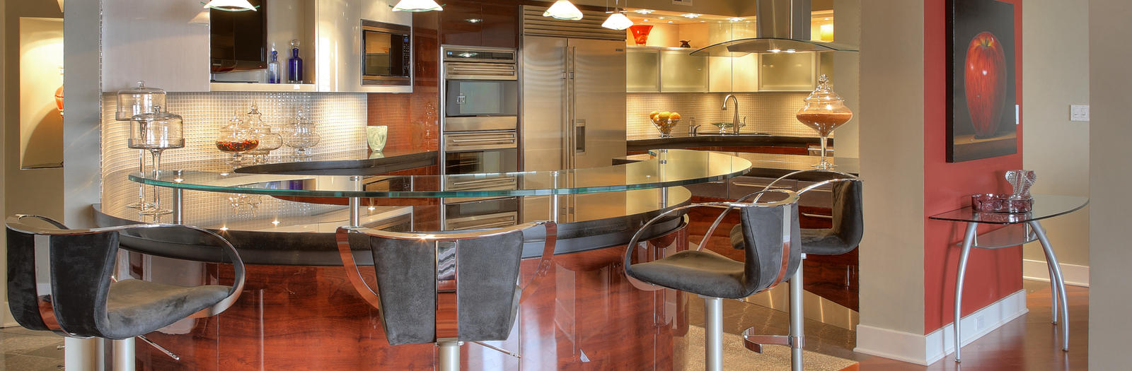 Contemporary Kitchen with stainless steel appliances