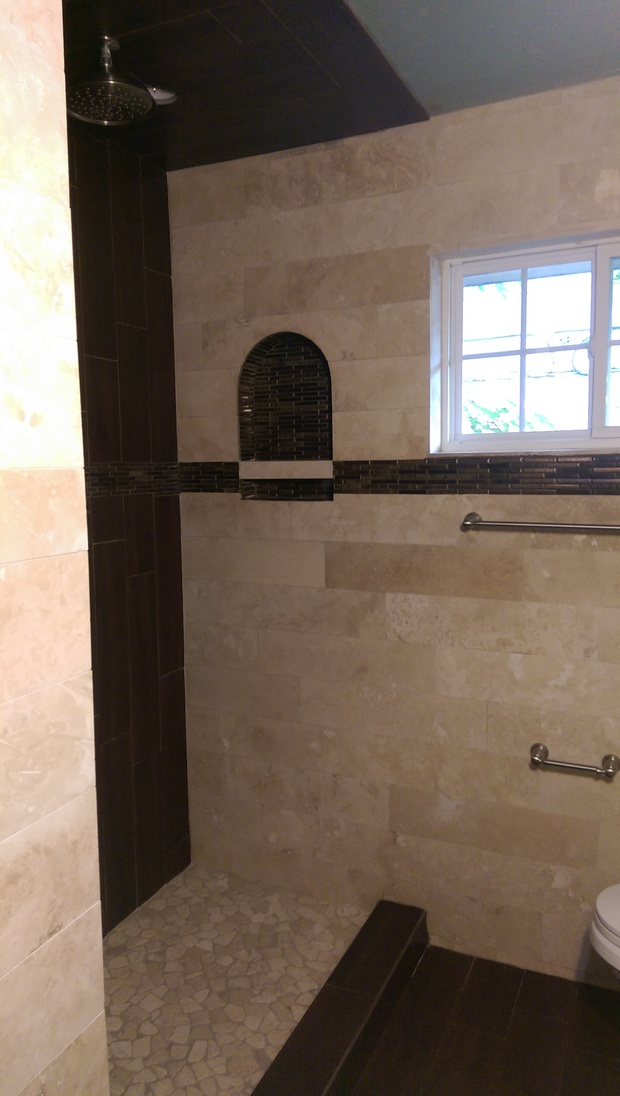 Walk Boards For Roofing Transitional Bathroom in Houston - recessed shelf, rain ...