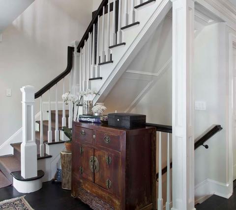 Eclectic Entry with eclectic entry with stairs