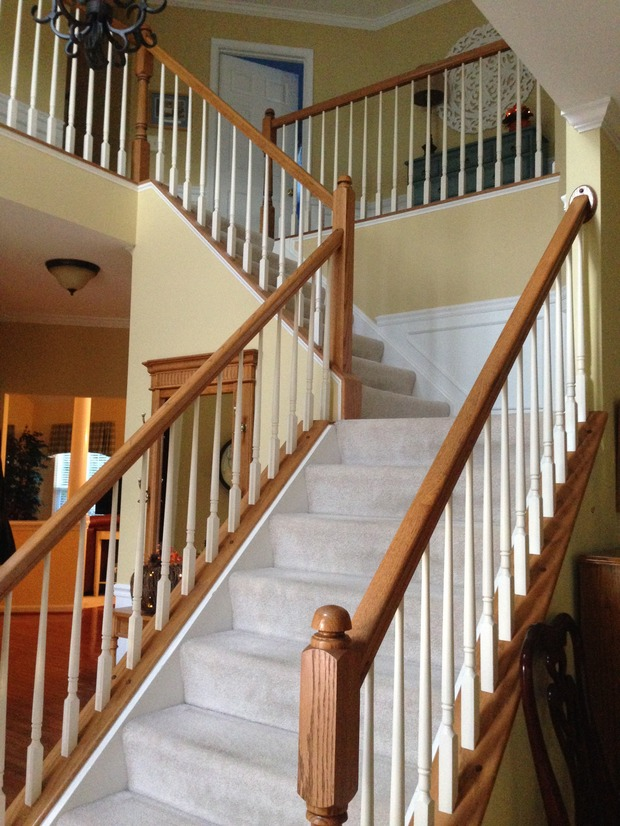 Transitional staircase in leesburg quarter landing for Quarter landing staircase