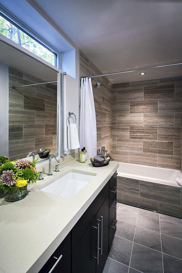 Modern Bathroom In Hazel Park Tiled Walls White Solid Surface Countertop By Your Designs Llc