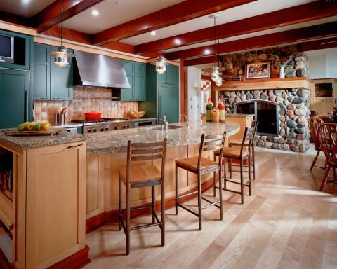 Traditional Kitchen with red wood stained ceiling beams