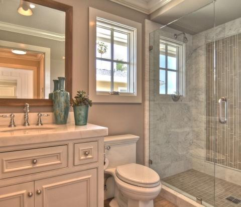Eclectic Bathroom with frameless glass shower doors