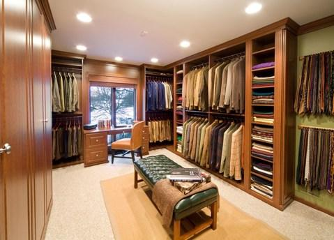 Traditional Closet with wood raised panel cabinets