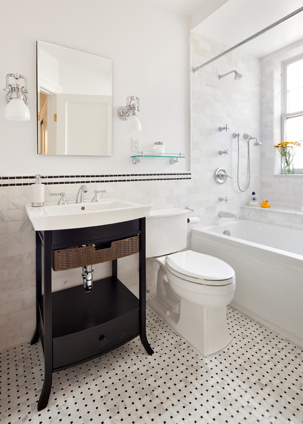Casual Comfortable Bathroom In Manhattan White Painted Walls Frameless Mirror By Royal