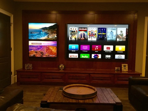Eclectic Home Theater with multiple screens