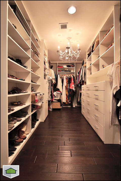 Contemporary Closet with dark laminate wood floors