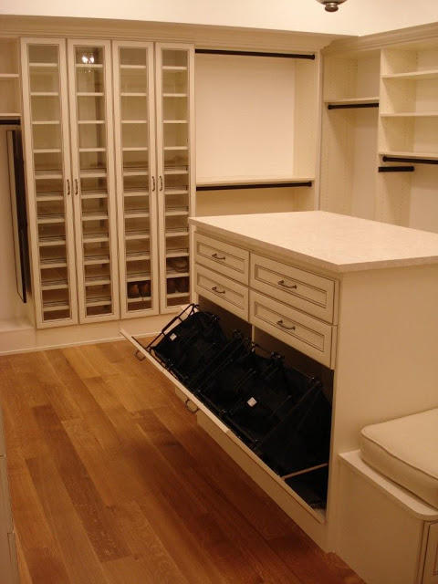 Colonial Closet with glass cabinet doors
