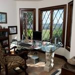 English Home Office with office desk with glass table top