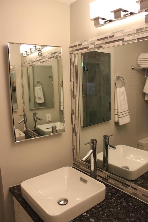 Transitional Bathroom In Alexandria Mirror Medicine Cabinet Glass Mosaic Tile Mirror Border