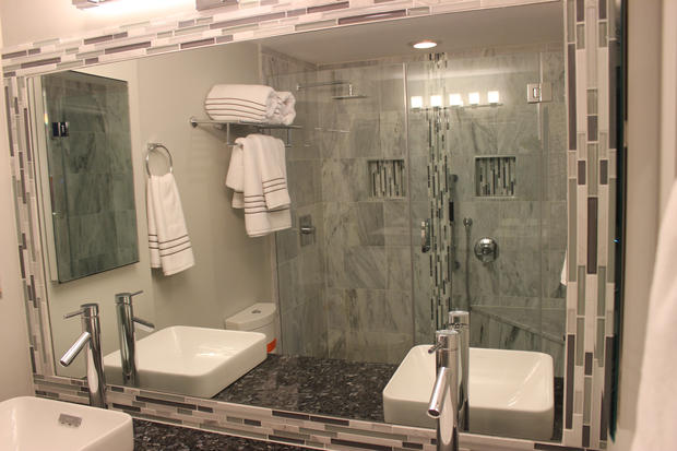 Transitional Bathroom In Alexandria Mosaic Tile Mirror Frame Above Mount B