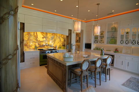 Eclectic Kitchen with large kitchen island with custom woodwork and barstools