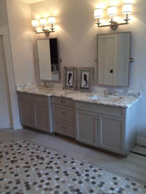 Transitional Bathroom with gray recessed panel vanity cabinets