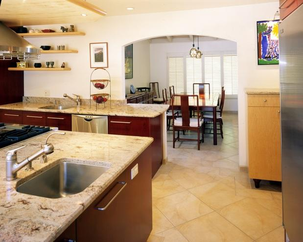 Contemporary Kitchen In Oklahoma City Wall Mounted Shelves Two Tone Cabinets By Stoneridge