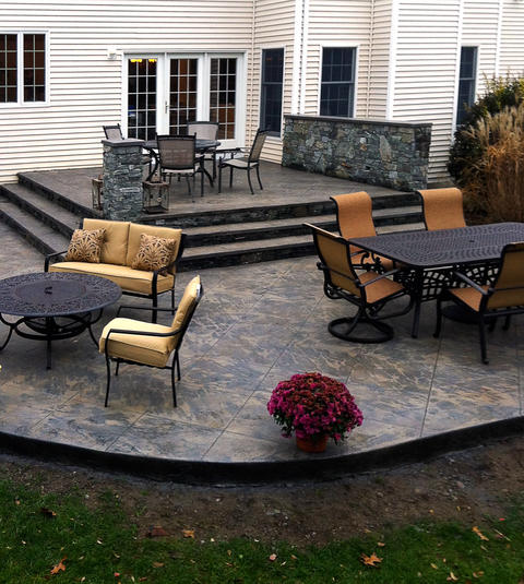 Patio with stamped and tinted concrete