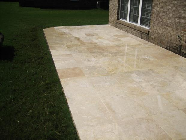 Traditional patio in prattville travertine marble tile for Custom home designs prattville