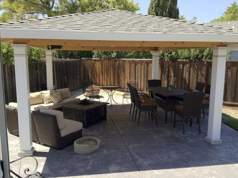 Transitional Patio with contemporary patio furniture