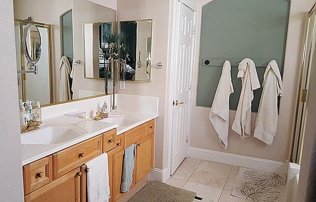 Transitional bathroom in las vegas maple cabinets for Closet doors las vegas