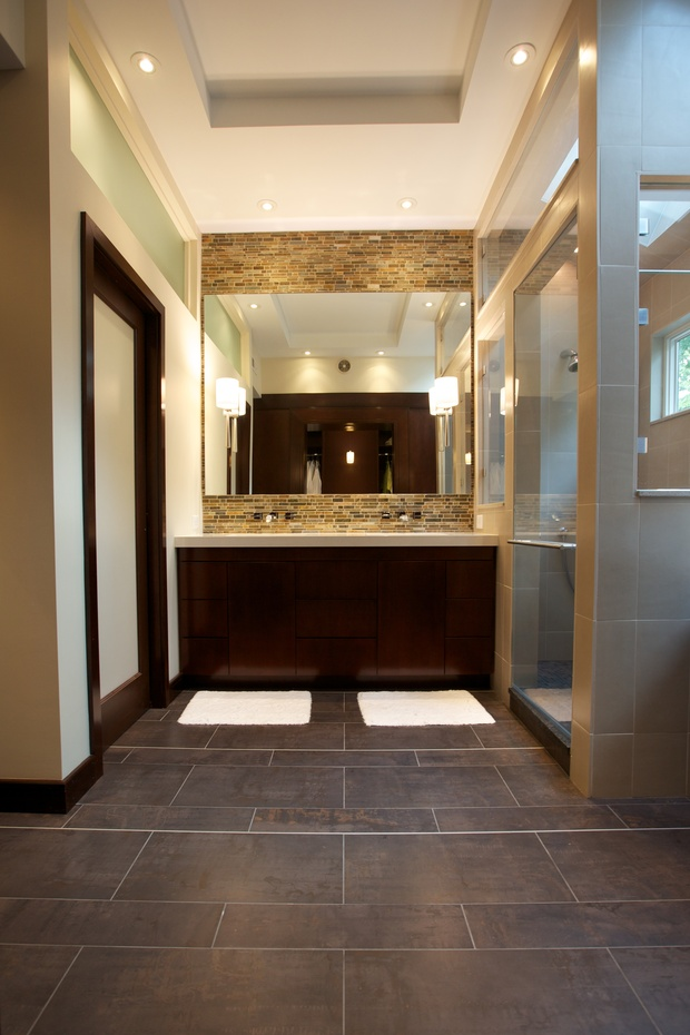 Contemporary Bathroom In Durham Frameless Mirror Duel Sink Counter By Nbaxter Design