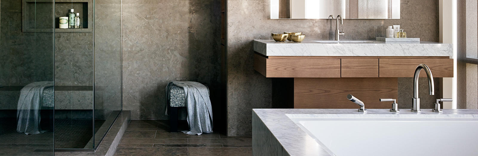 Contemporary Bathroom with side lighted medicine cabinet