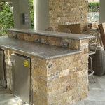 Traditional Outdoor Kitchen with granite counter top