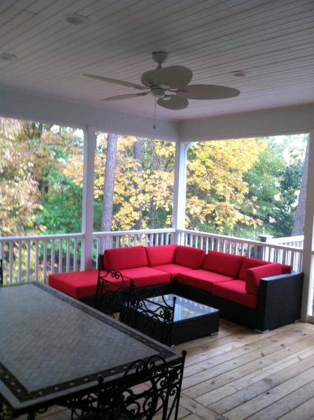 Colonial Deck in Raleigh plastic wicker patio furniture red patio cushions