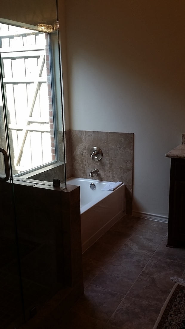 Traditional bathroom in frisco beige wall paint single for Bath remodel frisco tx