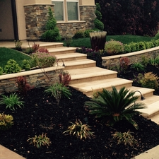 Modern Landscape with bullnose travertine tile stair nose