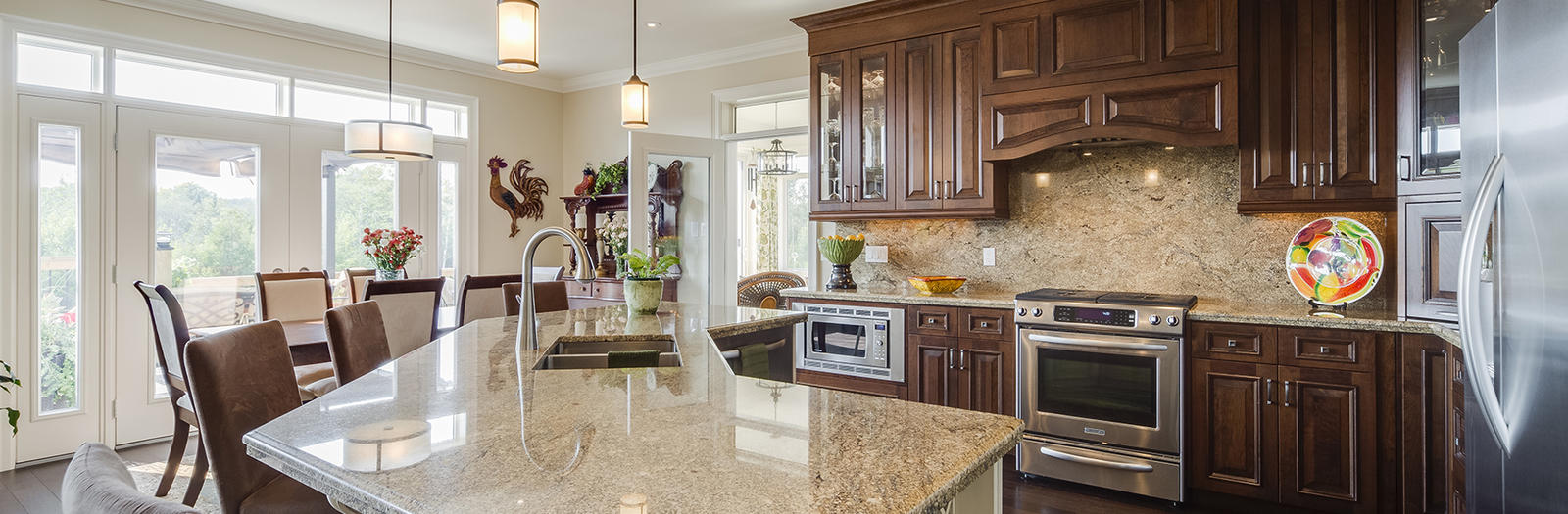 Traditional Kitchen with high arc kitchen faucet with pull out sprayer