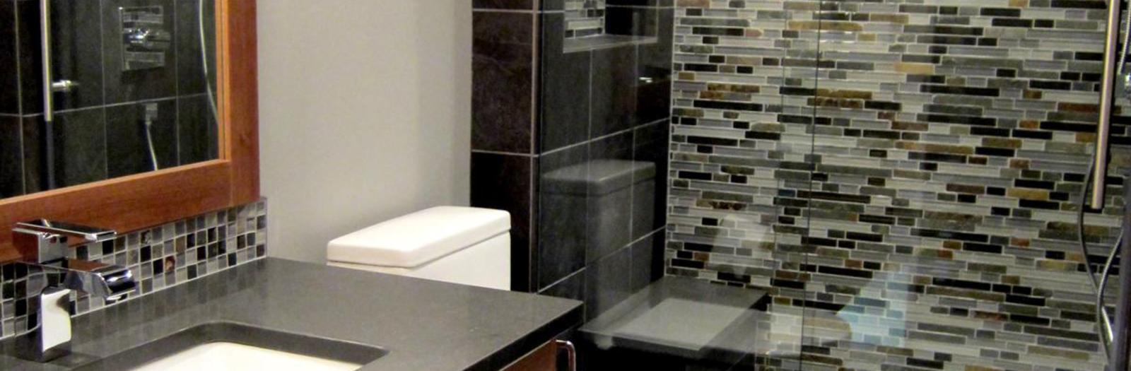 Contemporary Bathroom with sliding barn glass shower door