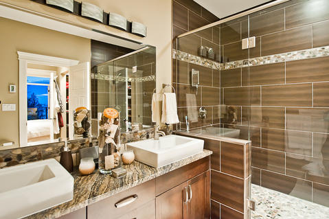 Transitional Bathroom with above the counter vitreous sink