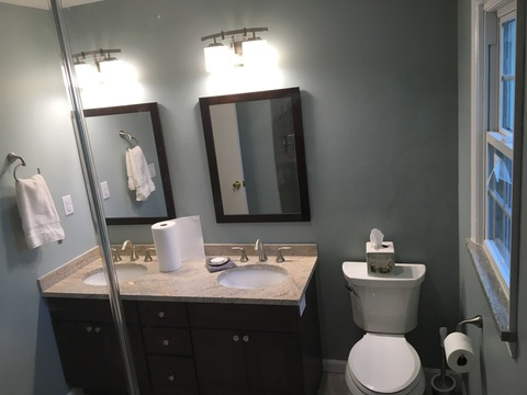 Transitional Bathroom with satin chrome faucet