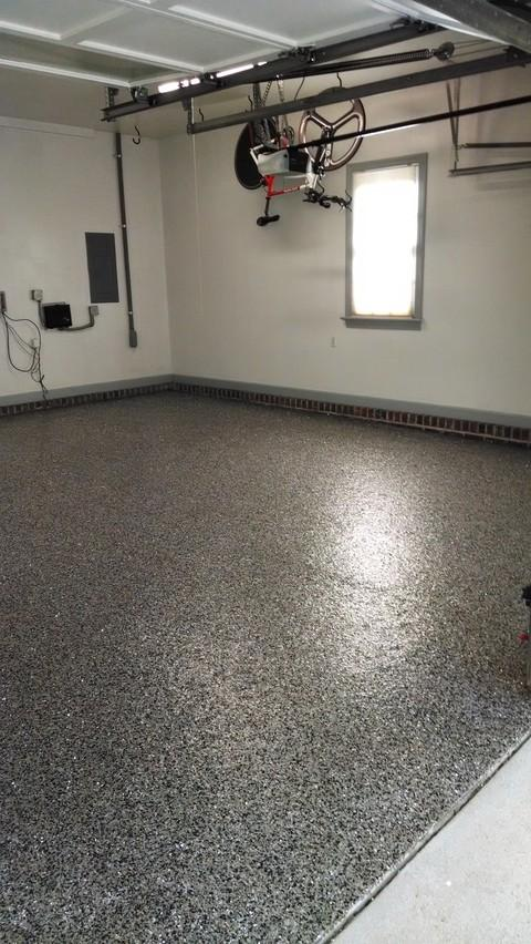 Traditional Garage with epoxy flooring