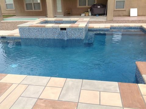 Modern Pool with various color concrete stain