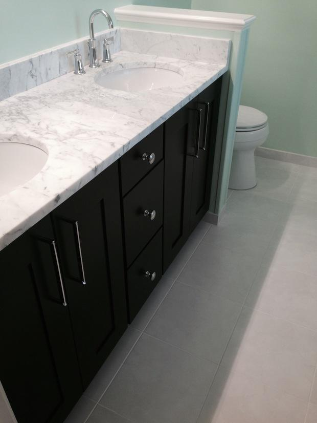 contemporary bathroom in fairfax white trim long modern cabinet