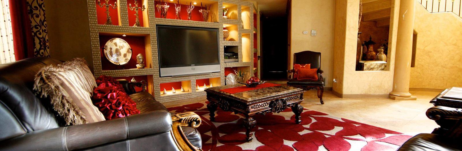 Modern Family Room with modern entertainment center
