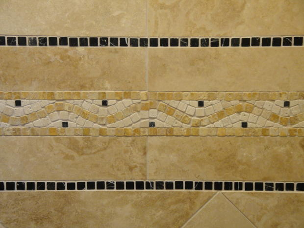 Anti Och Travertine : Tuscan bathroom in antioch mosaic accent tile