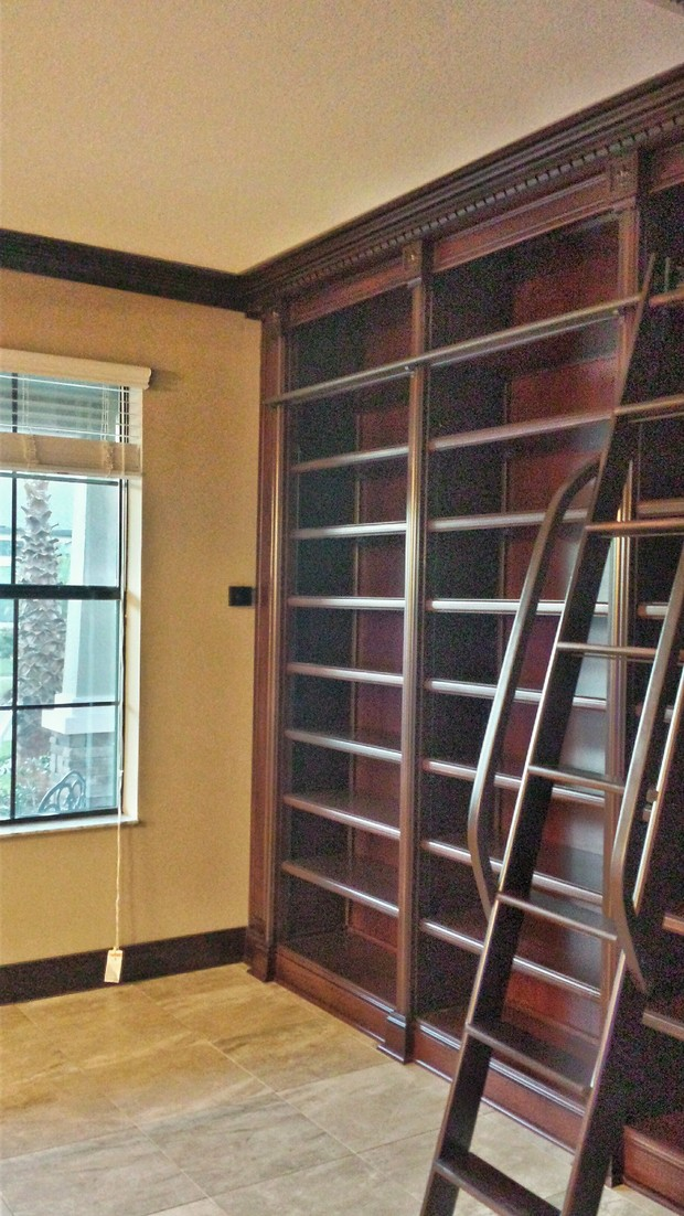 Traditional Library In Tampa Custom Built In Bookcases