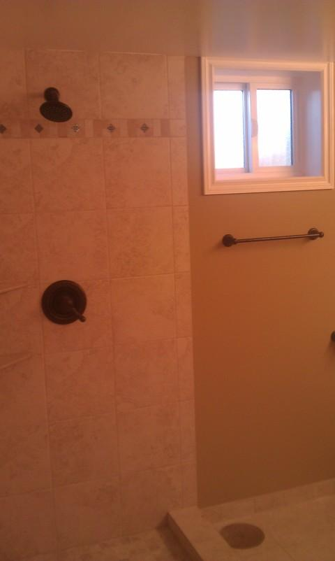 Transitional Bathroom with oil rubbed bronze fixtures
