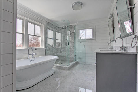 Contemporary Bathroom with high gloss marble tile floors