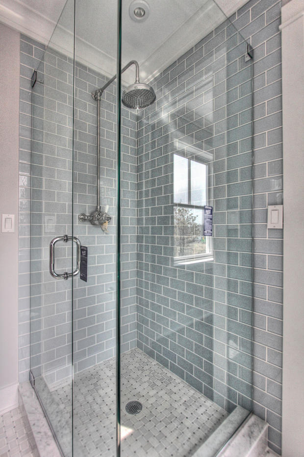 contemporary bathroom in fairfield walk in shower tile shower walls