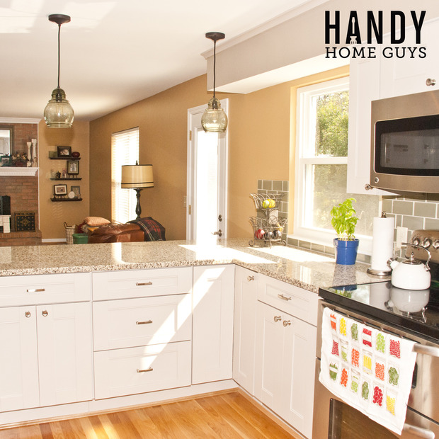 Transitional Kitchen In Cincinnati Hardwood Flooring Beige Wall Paint By Handy Home Guys Llc