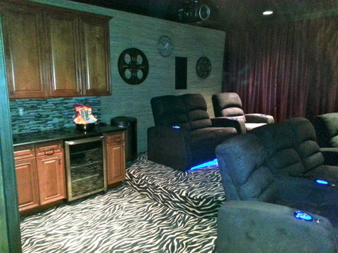 Eclectic Home Theater with glass pencil tile backsplash