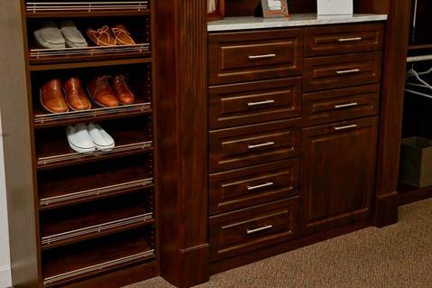Traditional Closet with raised panel cabinets
