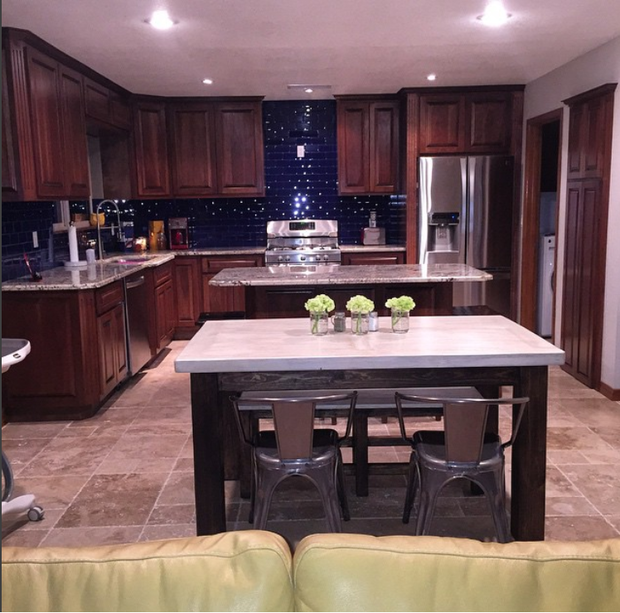 Transitional kitchen in el paso eat in kitchen blue for Kitchen cabinets el paso tx