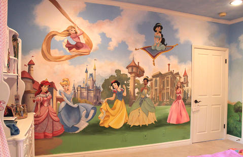 Eclectic Kids Room with wall mural of disney characters