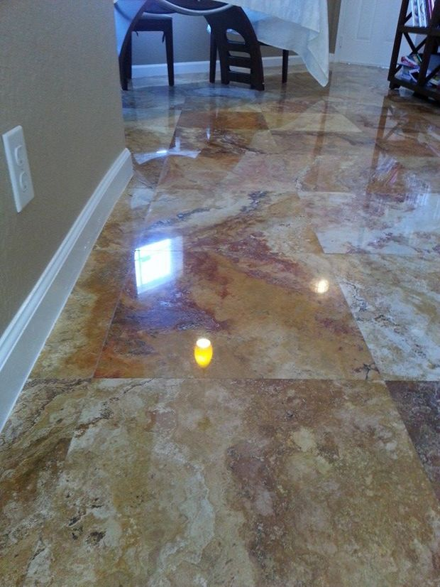 Mediterranean Kitchen With Highly Polished Oversized Marble Floor Tile