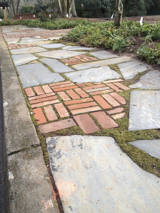 Eclectic driveway in greenville flagstone low brick for Landscaping rocks greenville sc