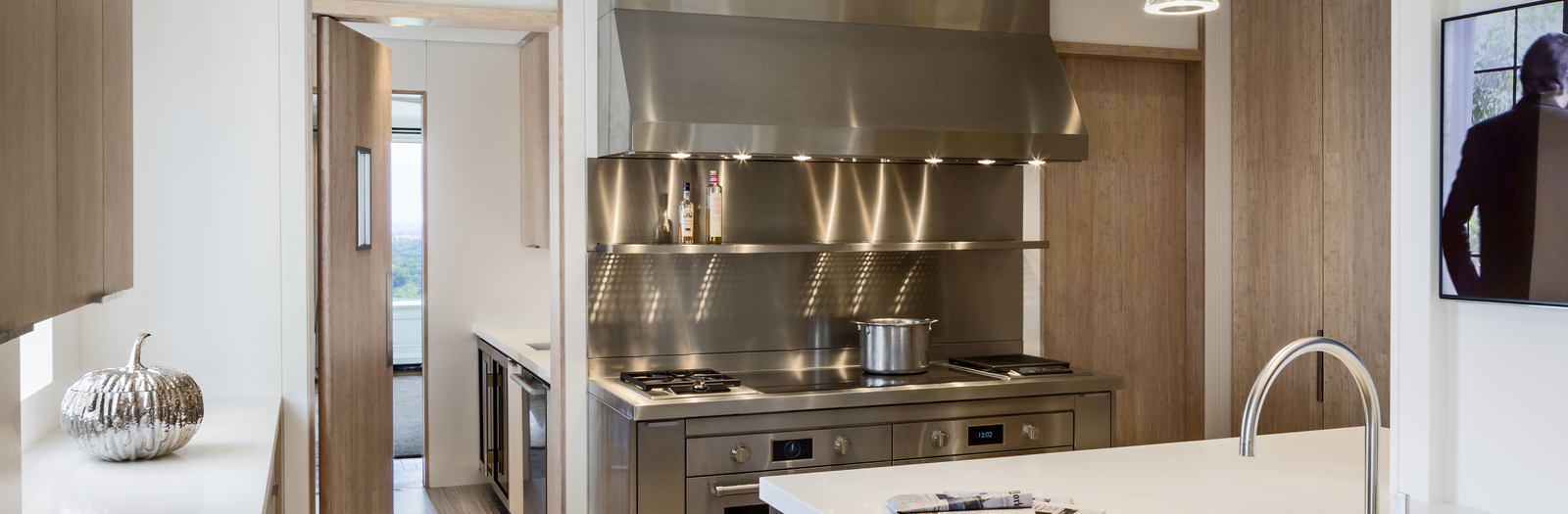 Modern Kitchen with stainless steel dual fuel kitchen range