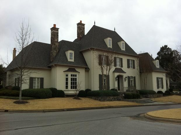 French Country Home Exterior With Gray Asphalt Shingled Roof Idea